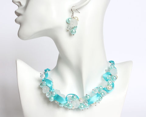 Icy,Blue,Frosty,Rose,Cluster,Necklace,and,Earrings,Set,ice blue necklace, icy blue necklace, light blue cluster necklace, light blue bridesmaid necklace, ice blue pearl necklace, frozen necklace, elsa necklace, frosty necklace, light blue white cluster necklace, blue white pearl necklace