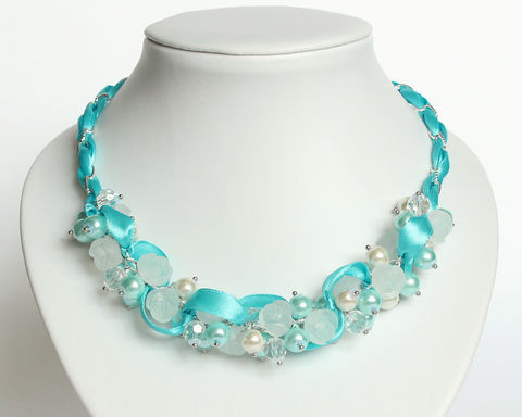 Icy Blue Frosty Rose Cluster Necklace and Earrings Set - product images  of