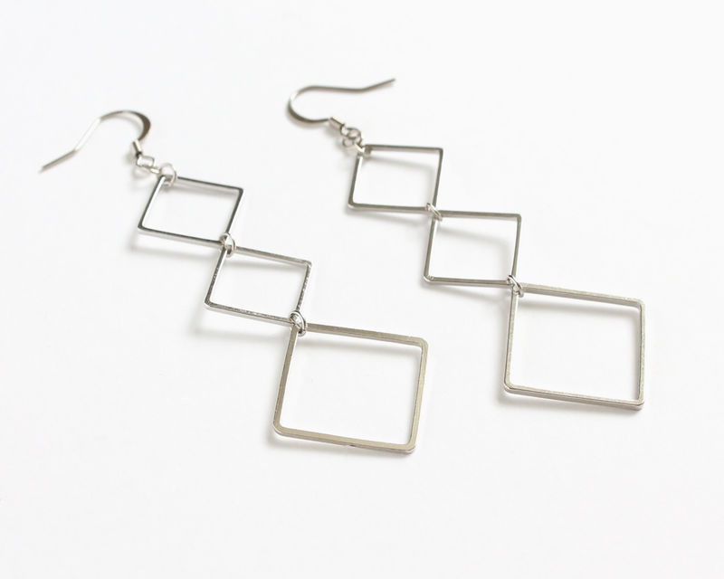 Silver Rhombus Dangle Earrings - product images  of