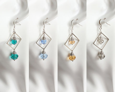 Crystal,Glass,in,Silver,Rhombus,Earrings,(Turquoise/Blue/Amber/Gray),silver rhombus earrings, rhombus dangle earrings, turquoise crystal earrings, blue crystal earrings, amber crystal earrings, gray crystal earrings, turquoise silver earrings, blue silver earrings, amber silver earrings, gray silver earrings