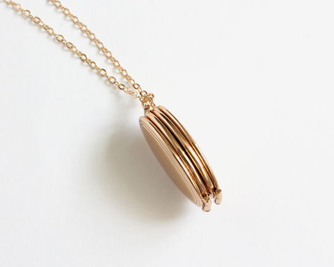 4-Page Oval Gold Locket Necklace - product images  of