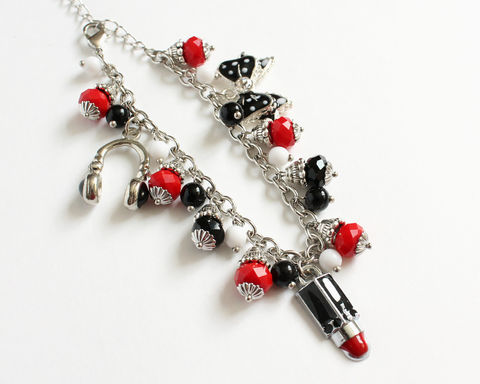 Black,Red,White,Ladies,Charm,Bracelet,black red white charm bracelet, red black white charm bracelet, black red charm bracelet, ladies theme charm bracelet, girl theme charm bracelet, headphone lipstick ribbon charm bracelet