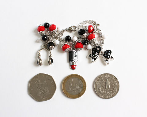 Black Red White Ladies Charm Bracelet - product images  of