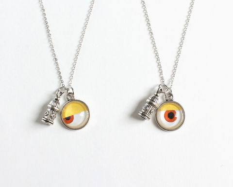 One-eye,and,Hydrant,Charm,Necklace,one eye necklace, eye necklace, yellow eye necklace, fire hydrant necklace, eye and hydrant necklace, firepost necklace, papaguena necklace, bello papaguena, staurt necklace, minion staurt necklace