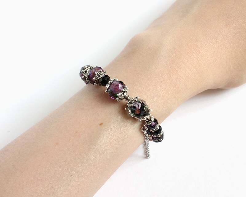 Plum Purple and Black Lampwork Glass Bead Memory Wire Bangle - product images  of