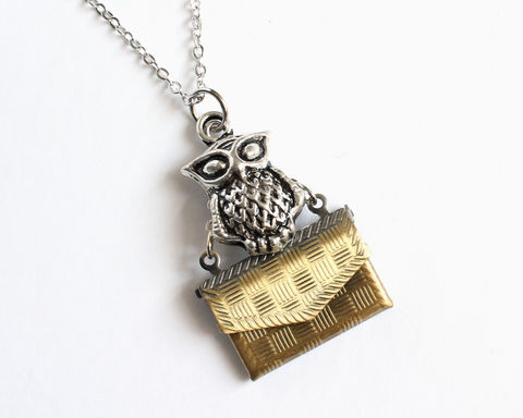 Owl,Post,Locket,Necklace,harry potter necklace, owl post necklace, owl necklace, owl mail necklace, envelop necklace, hedwig necklace