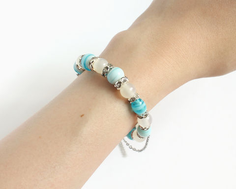 Cloudy White Blue Lampwork Memory Wire Bangle Bracelet - product images  of