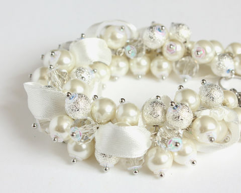 White,Silver,Crystal,Pearl,Cluster,Bracelet,and,Earrings,Set,bracelet earring, cluster bracelet, pearl bracelet, white pearl cluster bracelet, bride bracelet, white bracelet, white cluster bracelet, white wedding jewelry set
