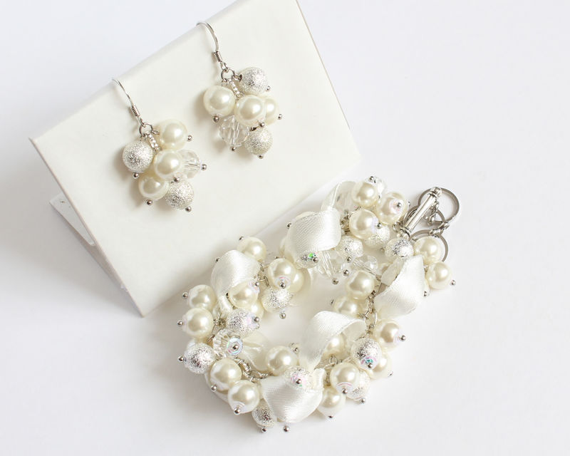 White Silver Crystal Pearl Cluster Bracelet and Earrings Set - product images  of