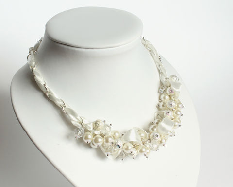 White Silver Crystal Pearl Cluster Necklace and Earrings Set - product images  of