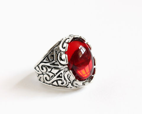Hook's,Red,Stone,Ring,(Oval),once upon a time hook ring, once upon a time captain hook ring, ouat hook ring, ouat hook jewelry, captain hook jewelry, captain hook ring, oval red stone ring, killian jones ring