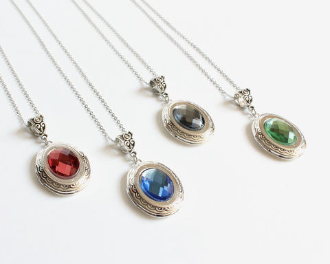 Oval Rhinestone Locket Necklace - product images  of