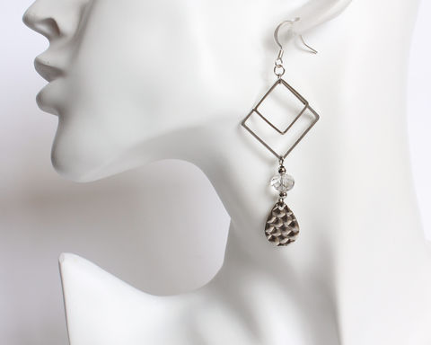 Double,Rhombus,with,Teardrop,Metal,Dangle,Earrings,silver dangle earrings, double square dangle earrings, double rhombus dangle earrings, silver rhombus earrings, crystal earrings, teardrop dangle earrings