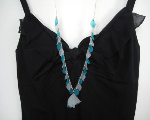 Aqua and White Leaves Long Necklace - product images  of