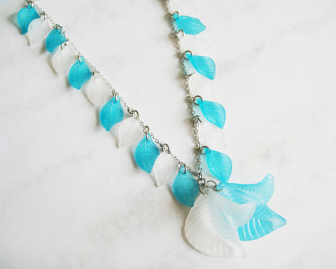 Aqua,and,White,Leaves,Long,Necklace,aqua white leaves long necklace, leaves long necklace, blue white necklace, turquoise white long necklace, white leaves necklace