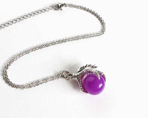 Maleficent,Dragon,Claw,Necklace,(OUAT),once upon a time necklace, ouat necklace, once upon a time jewelry, maleficent necklace, once upon a time maleficent, ouat maleficent necklace, maleficent claw necklace, purple ball in claw necklace, maleficent baby rattle necklace