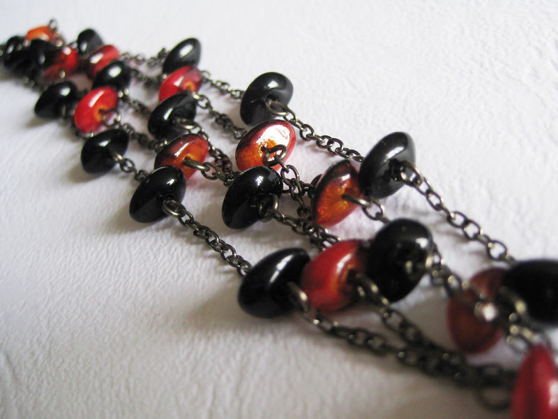 Black and Red Mini Stone Beads Multistrand Bracelet - product images  of