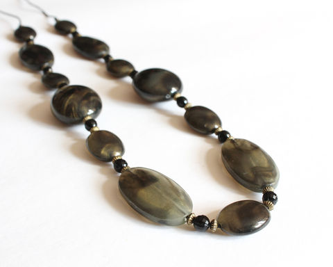Brown Golden Sheen Beads Chunky Long Necklace - product images  of