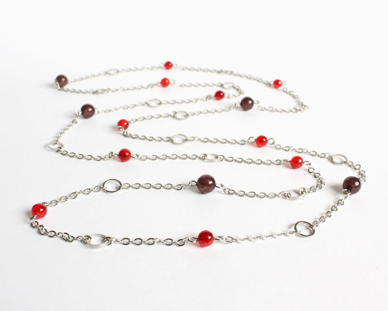 Red and brown small beads with mini silver hoops extra long necklace / double necklace - product images  of