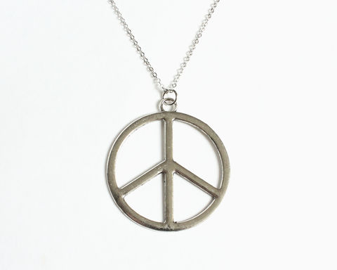 Large,Peace,Symbol,Necklace,peace symbol necklace, peace sign necklace, large peace symbol necklace, large peace sign necklace, peace pendant necklace, silver peace necklace, stainless steel necklace