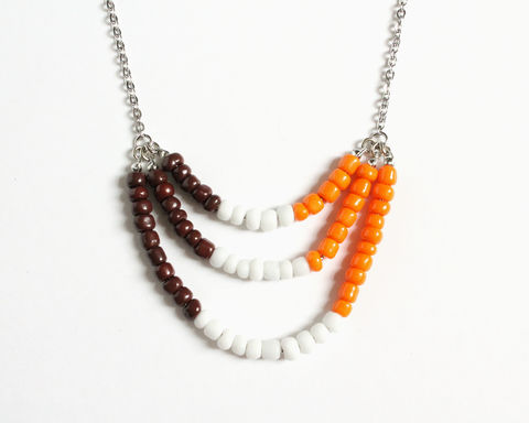 Brown,White,Orange,3-strand,Mini,Beads,Stainless,Steel,Necklace,mini beads necklace, colorful necklace, color necklace, brown white orange necklace, 3 strand necklace, small beads necklace, stainless steel beaded necklace, multicolor necklace