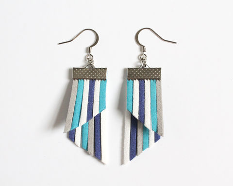 Color,Stripes,Earrings,-,Blue,White,Gray,color stripes earrings, color strips earrings, colorful earrings, blue white gray earrings, leather earrings, color leather earrings, cerulean blue white earrings