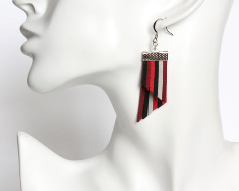 Color Stripes Earrings - Red Black Gray Stripes - product images  of