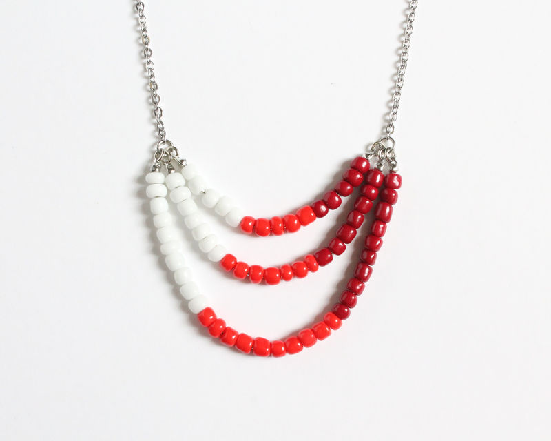 White Red Maroon 3-strand Mini Beads Stainless Steel Necklace - product images  of