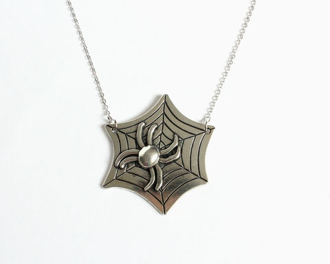 Spider,Web,Necklace,spider web necklace, silver spider necklace, silver spider web necklace, spider web and spider necklace, stainless steel necklace