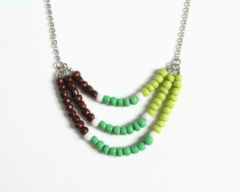 Lime,Green,Brown,3-strand,Mini,Beads,Stainless,Steel,Necklace,lime green brown necklace, green white brown necklace, grass green white necklace, apple green brown necklace, mini beads necklace, colorful necklace, color necklace, 3 strand necklace, small beads necklace, stainless steel beaded necklace, multicolor nec
