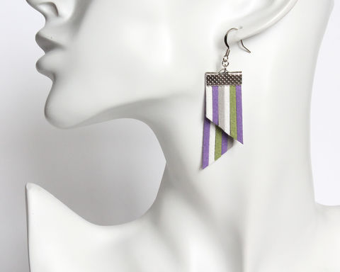Color Stripes Earrings - Purple White Green Gray Stripes - product images  of