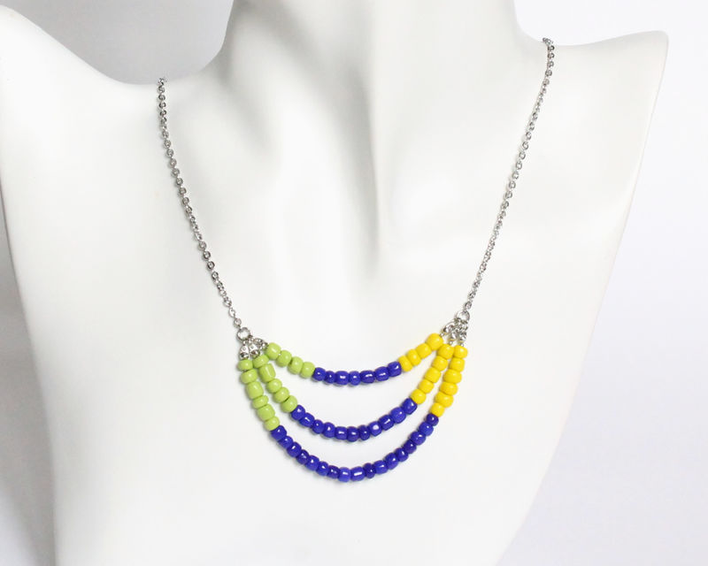 Lime Blue Yellow 3-strand Mini Beads Stainless Steel Necklace - product images  of
