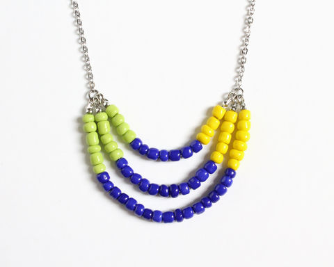 Lime,Blue,Yellow,3-strand,Mini,Beads,Stainless,Steel,Necklace,lime blue yellow necklace, green blue yellow necklace, blue beaded necklace, blue green yellow beads necklace, mini beads necklace, colorful necklace, color necklace, 3 strand necklace, small beads necklace, stainless steel beaded necklace, multicolor nec