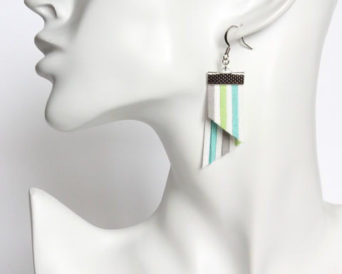 Color Stripes Earrings - White Cyan Lime Gray - product images  of