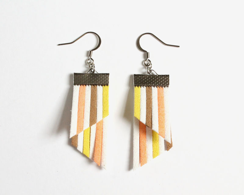 Color Stripes Earrings - White Orange Brown Yellow - product images  of