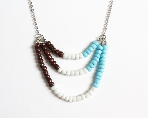 Brown White Baby Blue 3-strand Mini Beads Stainless Steel Necklace - product images  of