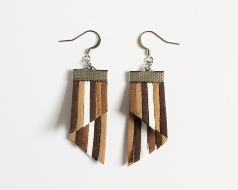 Color Stripes Earrings - Brown Khaki White - product images  of