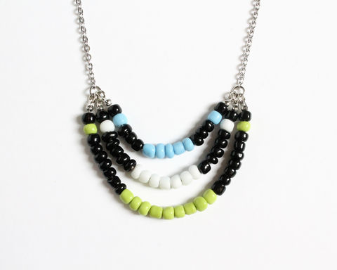 Black,Lime,White,Blue,3-strand,Mini,Beads,Stainless,Steel,Necklace,black beaded necklace, black green white necklace, black blue white necklace, 3 layered necklace, colorful necklace, color necklace, small beads necklace, stainless steel beaded necklace, multicolor necklace