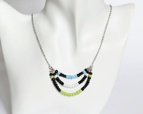 Black Lime White Blue 3-strand Mini Beads Stainless Steel Necklace - product images  of