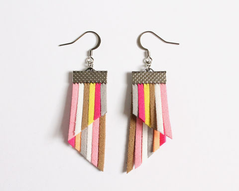 Color,Stripes,Earrings,-,Pink,White,Khaki,color stripes earrings, color strips earrings, colorful earrings, color leather earrings, pink white stripes earrings, pink stripes earrings, hot pink white yellow earrings, pink white brown earrings, pink white khaki gray earrings