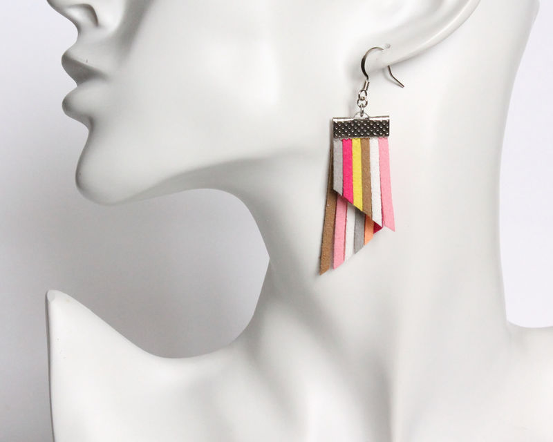 Color Stripes Earrings - Pink White Khaki - product images  of