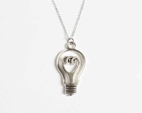 Light,Bulb,Necklace,light bulb necklace, silver light bulb necklace, good idea necklace, stainless steel necklace, long necklace, silver necklace, light bulb necklace, light bulb jewelry, light bulb accessories