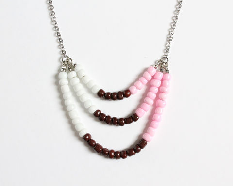 White,Pink,Brown,3-strand,Mini,Beads,Stainless,Steel,Necklace,white pink brown necklace, pink white necklace, pink white brown, pink brown mini beads necklace, colorful necklace, color necklace, small beads necklace, stainless steel beaded necklace, multicolor necklace