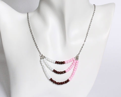 White Pink Brown 3-strand Mini Beads Stainless Steel Necklace - product images  of