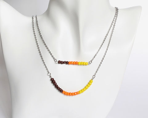 Brown,Orange,Yellow,Double,Layer,Mini,Beads,Stainless,Steel,Necklace,brown orange yellow necklace, brown orange yellow beaded necklace, double layer necklace, 2 strand necklace, orange brown beaded necklace, mini beads necklace, stainless steel small beads necklace, orange gradient necklace, colorful necklace