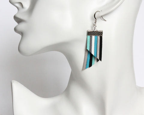 Color Stripes Earrings - Blue White Gray Black Stripes - product images  of