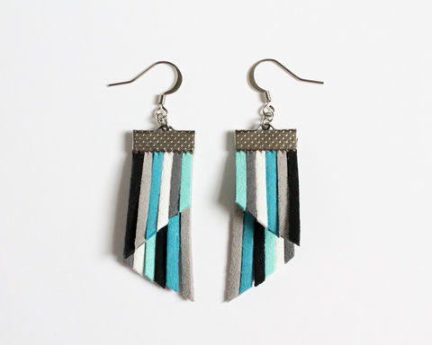 Color,Stripes,Earrings,-,Blue,White,Gray,Black,color stripes earrings, color strips earrings, colorful earrings, color leather earrings, blue white stripes earrings, blue stripes earrings, blue white gray, blue white black, blue white cyan stripes, blue shades, blue theme earrings