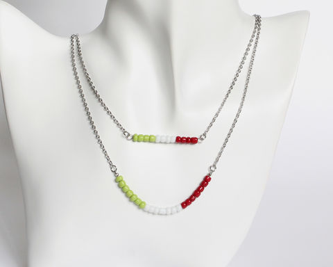 Apple,Green,White,Maroon,Double,Layer,Mini,Beads,Stainless,Steel,Necklace,apple green white maroon necklace, green white red beaded necklace, italy necklace, lime white dark red necklace, double layer necklace, 2 strand necklace, orange brown beaded necklace, mini beads necklace, stainless steel small beads necklace, colorful n