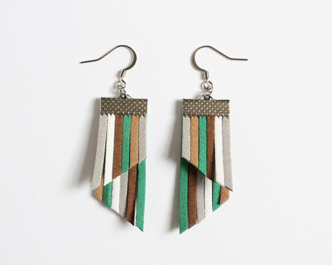 Color,Stripes,Earrings,-,Green,Brown,Gray,White,color stripes earrings, color strips earrings, colorful earrings, color leather earrings, green stripes earrings, green brown stripes earrings, green white brown stripes, green brown gray white earrings