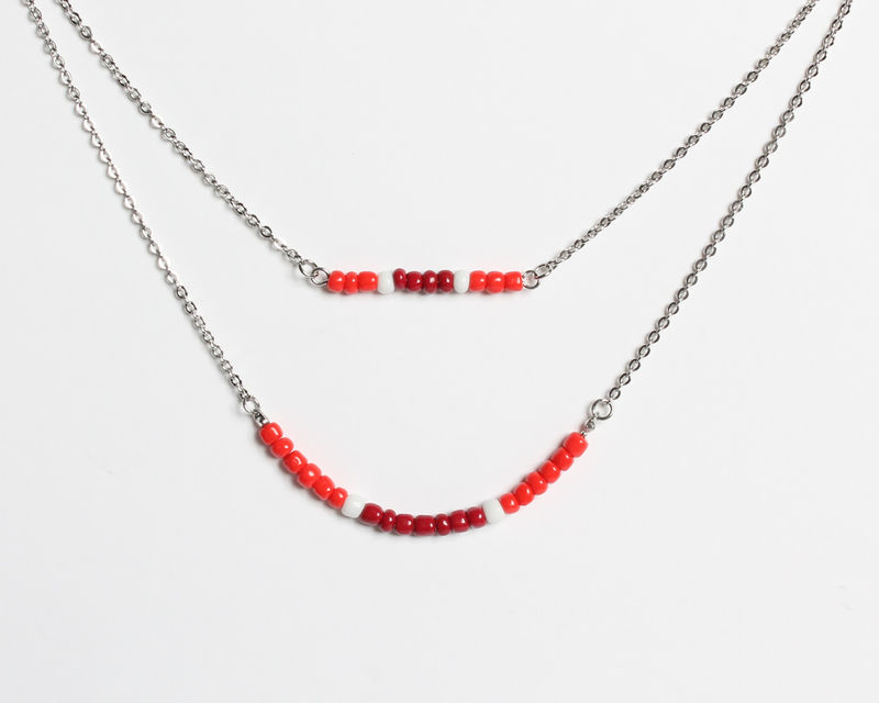 Red Maroon Double Layer Mini Beads Stainless Steel Necklace - product images  of